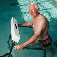 elderly man exercising in pool