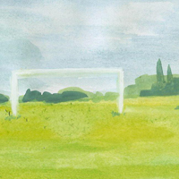 Soccer watercolor painting