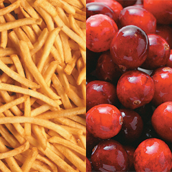 french fries and berries