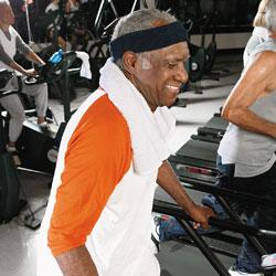 Man with hemophilia on a treadmill