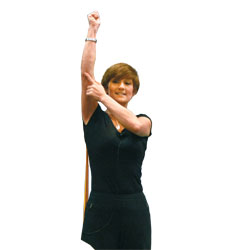 Angie Forsyth demonstrates a resistance band