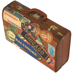 Suitcase with Chicago sticker