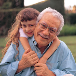 Grandpa with hemophilia with granddaughter