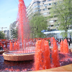 Red fountains in Bucharest