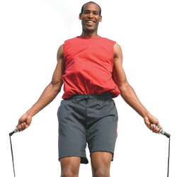 Man with hemophilia jumping rope